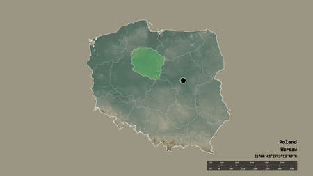 Desaturated shape of Poland with its capital, main regional division and the separated Kuyavian-Pomeranian area. Labels. Topographic relief map. 3D rendering