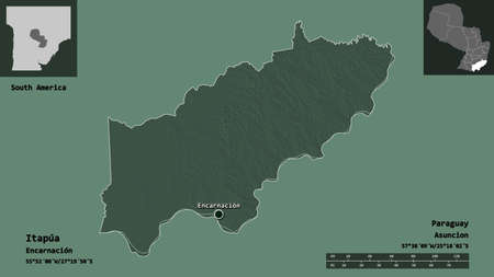Shape of Itapúa, department of Paraguay, and its capital. Distance scale, previews and labels. Colored elevation map. 3D rendering Reklamní fotografie