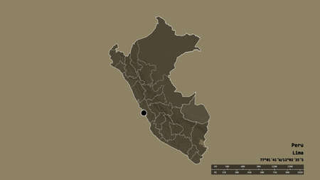 Desaturated shape of Peru with its capital, main regional division and the separated Madre de Dios area. Labels. Colored elevation map. 3D rendering