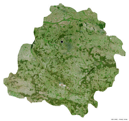 Shape of Łódź, voivodeship of Poland, with its capital isolated on white background. Satellite imagery. 3D rendering