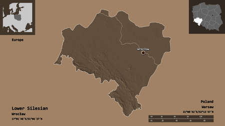 Shape of Lower Silesian, voivodeship of Poland, and its capital. Distance scale, previews and labels. Colored elevation map. 3D rendering