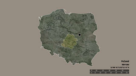 Desaturated shape of Poland with its capital, main regional division and the separated Łódź area. Labels. Satellite imagery. 3D rendering