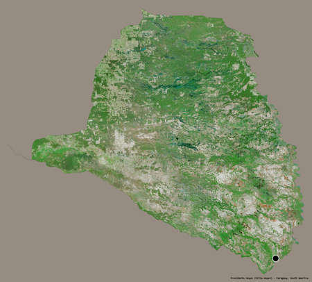 Shape of Presidente Hayes, department of Paraguay, with its capital isolated on a solid color background. Satellite imagery. 3D rendering