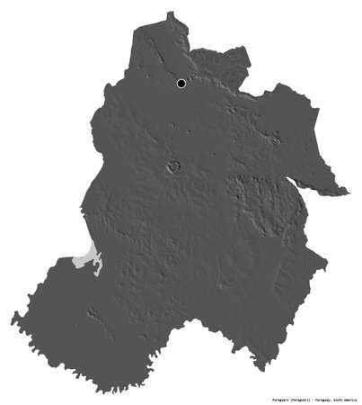 Shape of Paraguarí, department of Paraguay, with its capital isolated on white background. Bilevel elevation map. 3D rendering