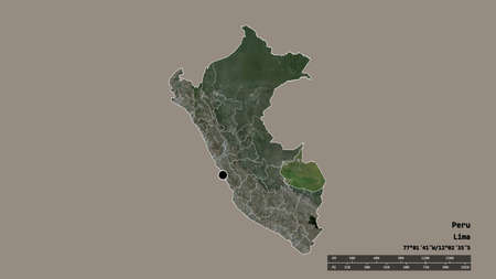 Desaturated shape of Peru with its capital, main regional division and the separated Madre de Dios area. Labels. Satellite imagery. 3D rendering