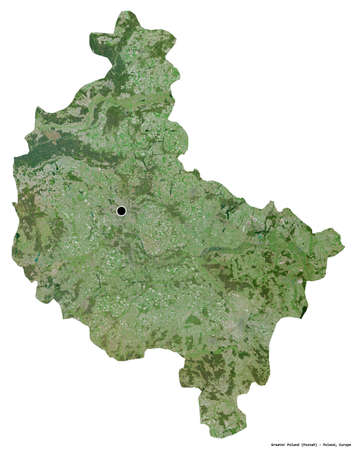 Shape of Greater Poland, voivodeship of Poland, with its capital isolated on white background. Satellite imagery. 3D rendering Stock fotó