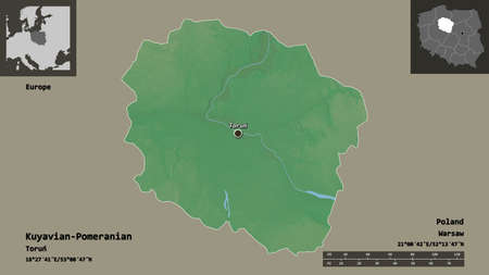 Shape of Kuyavian-Pomeranian, voivodeship of Poland, and its capital. Distance scale, previews and labels. Topographic relief map. 3D rendering