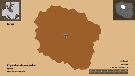 Shape of Kuyavian-Pomeranian, voivodeship of Poland, and its capital. Distance scale, previews and labels. Composition of regularly patterned textures. 3D rendering Stock fotó