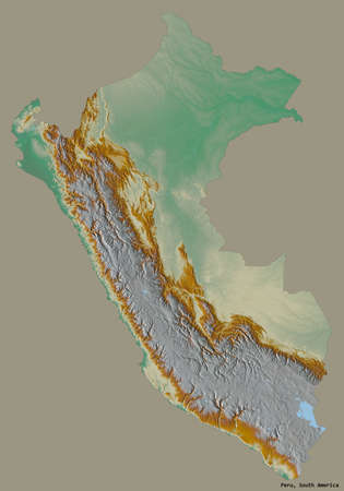 Shape of Peru with its capital isolated on a solid color background. Topographic relief map. 3D rendering Stock Photo