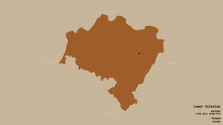 Area of Lower Silesian, voivodeship of Poland, isolated on a solid background in a georeferenced bounding box. Labels. Composition of patterned textures. 3D rendering