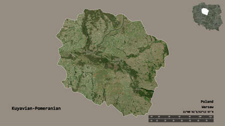 Shape of Kuyavian-Pomeranian, voivodeship of Poland, with its capital isolated on solid background. Distance scale, region preview and labels. Satellite imagery. 3D rendering