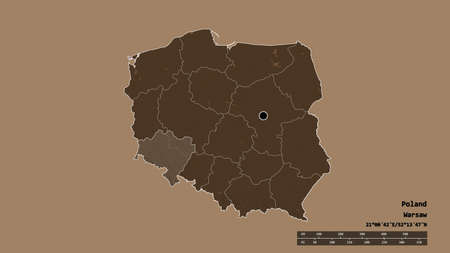 Desaturated shape of Poland with its capital, main regional division and the separated Lower Silesian area. Labels. Colored elevation map. 3D rendering