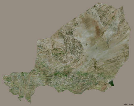 Shape of Niger with its capital isolated on a solid color background. Satellite imagery. 3D rendering Stock Photo