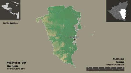 Shape of Atlántico Sur, autonomous region of Nicaragua, and its capital. Distance scale, previews and labels. Topographic relief map. 3D rendering Foto de archivo