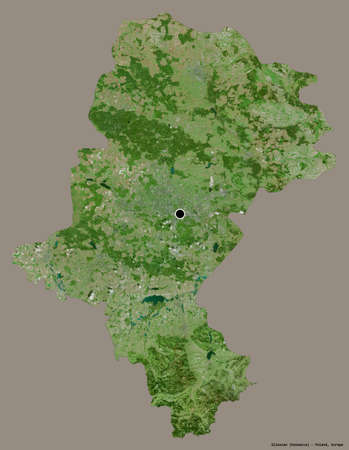 Shape of Silesian, voivodeship of Poland, with its capital isolated on a solid color background. Satellite imagery. 3D rendering Zdjęcie Seryjne