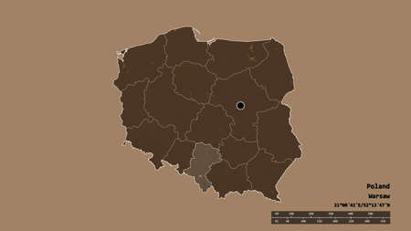 Desaturated shape of Poland with its capital, main regional division and the separated Silesian area. Labels. Colored elevation map. 3D rendering