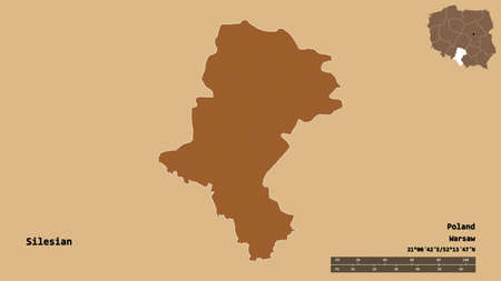 Shape of Silesian, voivodeship of Poland, with its capital isolated on solid background. Distance scale, region preview and labels. Composition of regularly patterned textures. 3D rendering