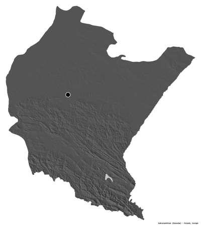 Shape of Subcarpathian, voivodeship of Poland, with its capital isolated on white background. Bilevel elevation map. 3D rendering Stock fotó