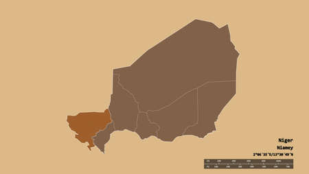 Desaturated shape of Niger with its capital, main regional division and the separated Tillabéry area. Labels. Composition of regularly patterned textures. 3D rendering