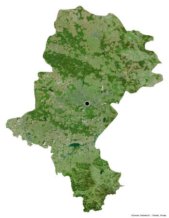 Shape of Silesian, voivodeship of Poland, with its capital isolated on white background. Satellite imagery. 3D rendering