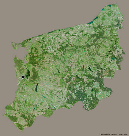 Shape of West Pomeranian, voivodeship of Poland, with its capital isolated on a solid color background. Satellite imagery. 3D rendering