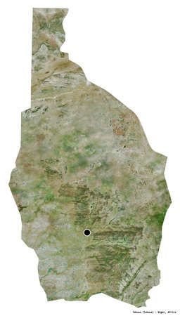 Shape of Tahoua, department of Niger, with its capital isolated on white background. Satellite imagery. 3D rendering