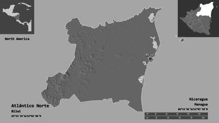 Shape of Atlántico Norte, autonomous region of Nicaragua, and its capital. Distance scale, previews and labels. Bilevel elevation map. 3D rendering Foto de archivo