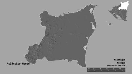 Shape of Atlántico Norte, autonomous region of Nicaragua, with its capital isolated on solid background. Distance scale, region preview and labels. Bilevel elevation map. 3D rendering