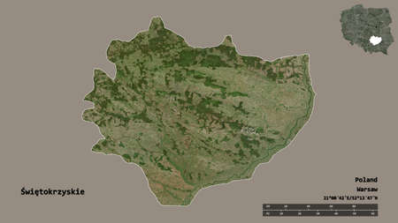 Shape of ÅšwiÄ™tokrzyskie, voivodeship of Poland, with its capital isolated on solid background. Distance scale, region preview and labels. Satellite imagery. 3D rendering