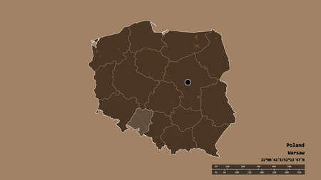 Desaturated shape of Poland with its capital, main regional division and the separated Opole area. Labels. Colored elevation map. 3D rendering Stock fotó