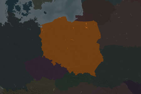 Shape of Poland separated by the desaturation of neighboring areas. Colored elevation map. 3D rendering Stock fotó