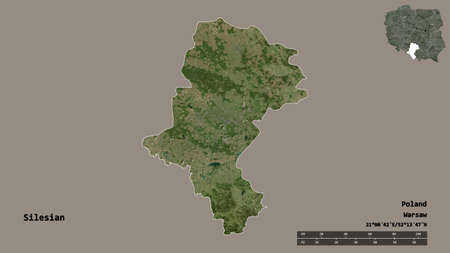 Shape of Silesian, voivodeship of Poland, with its capital isolated on solid background. Distance scale, region preview and labels. Satellite imagery. 3D rendering