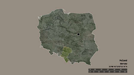 Desaturated shape of Poland with its capital, main regional division and the separated Silesian area. Labels. Satellite imagery. 3D rendering Zdjęcie Seryjne