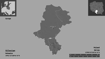 Shape of Silesian, voivodeship of Poland, and its capital. Distance scale, previews and labels. Bilevel elevation map. 3D rendering Zdjęcie Seryjne