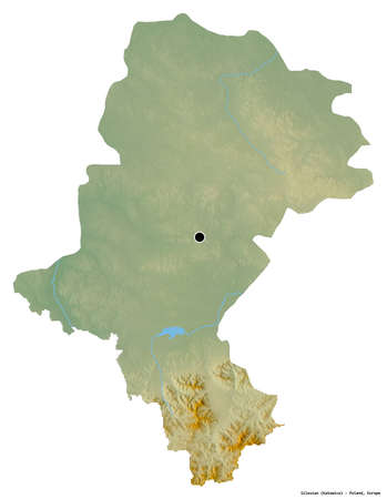 Shape of Silesian, voivodeship of Poland, with its capital isolated on white background. Topographic relief map. 3D rendering