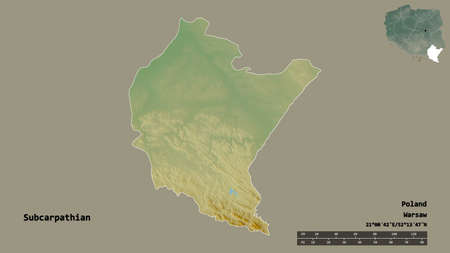 Shape of Subcarpathian, voivodeship of Poland, with its capital isolated on solid background. Distance scale, region preview and labels. Topographic relief map. 3D rendering