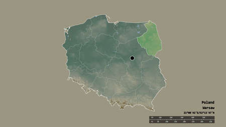 Desaturated shape of Poland with its capital, main regional division and the separated Podlachian area. Labels. Topographic relief map. 3D rendering