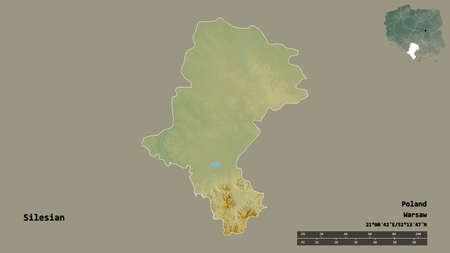 Shape of Silesian, voivodeship of Poland, with its capital isolated on solid background. Distance scale, region preview and labels. Topographic relief map. 3D rendering Zdjęcie Seryjne