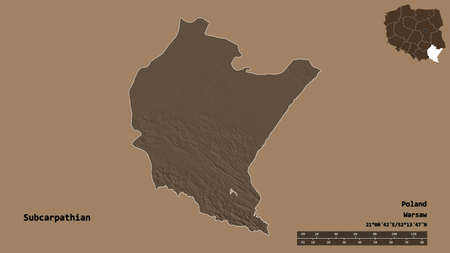 Shape of Subcarpathian, voivodeship of Poland, with its capital isolated on solid background. Distance scale, region preview and labels. Colored elevation map. 3D rendering