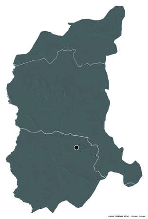Shape of Lubusz, voivodeship of Poland, with its capital isolated on white background. Colored elevation map. 3D rendering