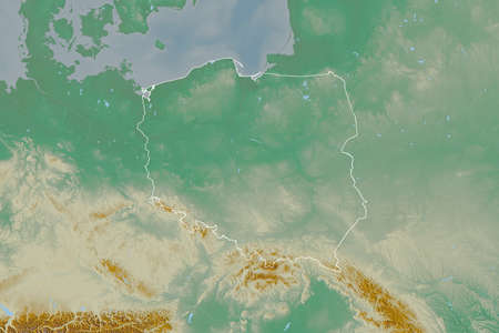 Extended area of outlined Poland. Topographic relief map. 3D rendering Stock fotó