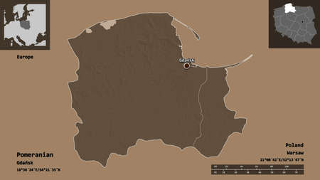 Shape of Pomeranian, voivodeship of Poland, and its capital. Distance scale, previews and labels. Colored elevation map. 3D rendering Stock fotó