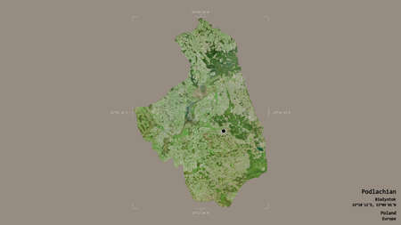 Area of Podlachian, voivodeship of Poland, isolated on a solid background in a georeferenced bounding box. Labels. Satellite imagery. 3D rendering