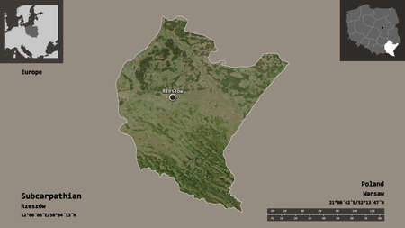 Shape of Subcarpathian, voivodeship of Poland, and its capital. Distance scale, previews and labels. Satellite imagery. 3D rendering