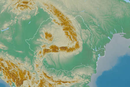 Extended area of outlined Romania. Topographic relief map. 3D rendering