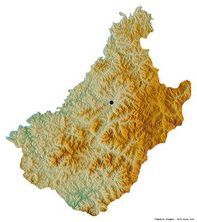Shape of Chagang-do, province of North Korea, with its capital isolated on white background. Topographic relief map. 3D rendering