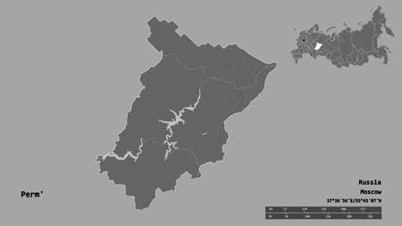 Shape of Perm', territory of Russia, with its capital isolated on solid background. Distance scale, region preview and labels. Bilevel elevation map. 3D rendering