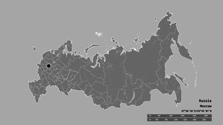 Desaturated shape of Russia with its capital, main regional division and the separated Perm' area. Labels. Bilevel elevation map. 3D rendering 스톡 콘텐츠