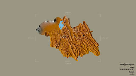 Area of Amajyaruguru, province of Rwanda, isolated on a solid background in a georeferenced bounding box. Labels. Topographic relief map. 3D rendering Archivio Fotografico