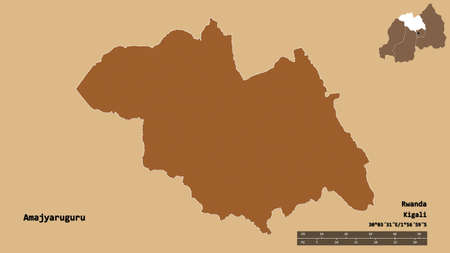 Shape of Amajyaruguru, province of Rwanda, with its capital isolated on solid background. Distance scale, region preview and labels. Composition of regularly patterned textures. 3D rendering